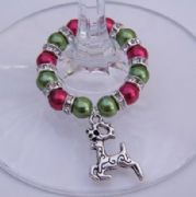 Reindeer Wine Glass Charm - Full Sparkle Style